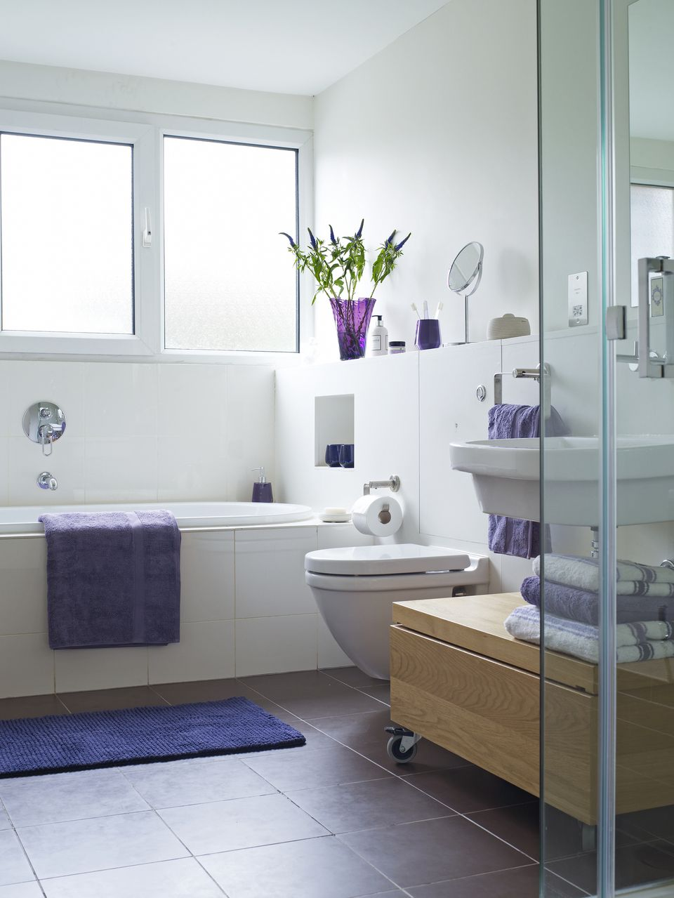 Tile color for small bathroom - Small Bathroom With Purple Accents