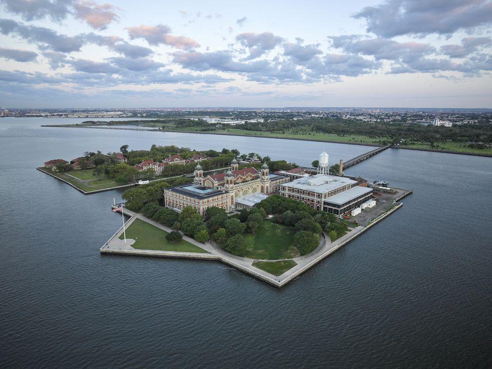 USA, Upper New York Bay, Aerial photograph of Ellis Island