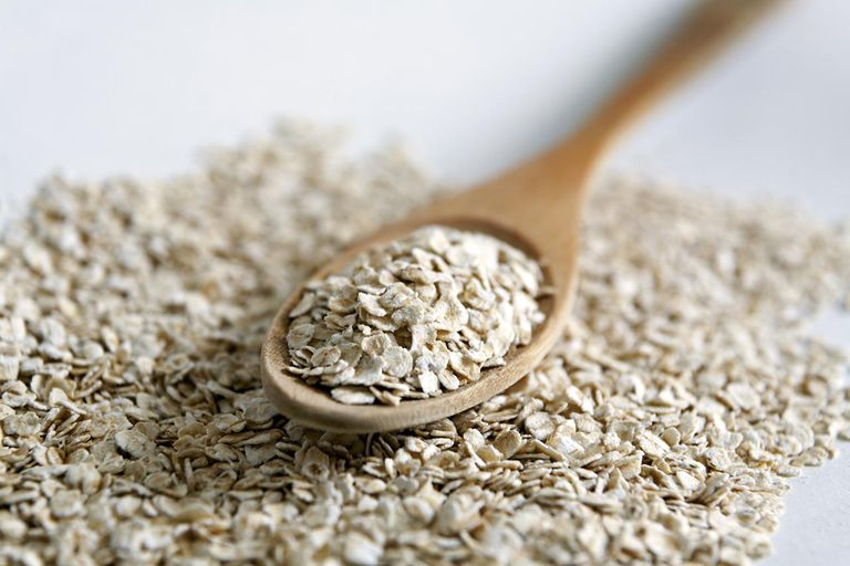 Oats on a wooden spoon