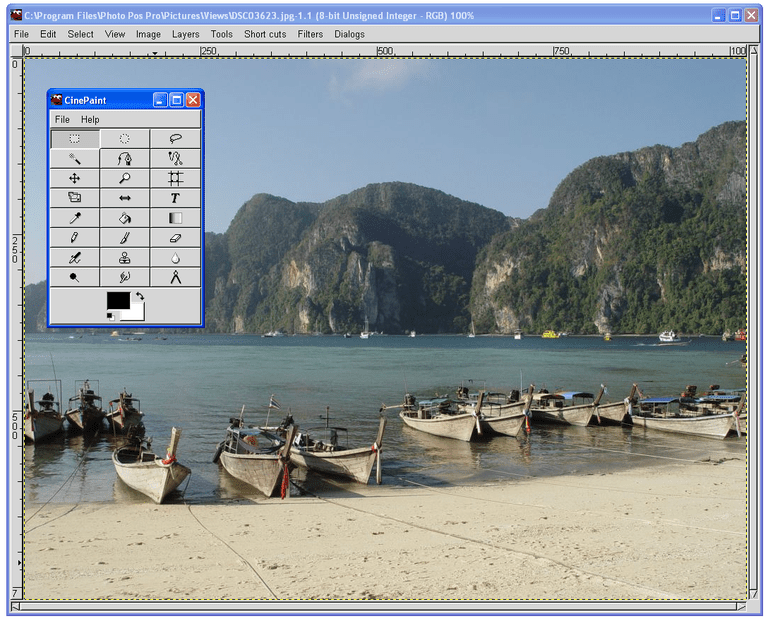 Screenshot of CinePaint in Windows XP
