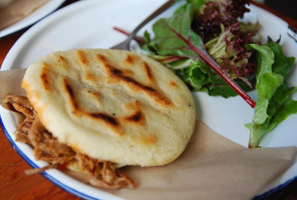 Arepas are made with masarepa