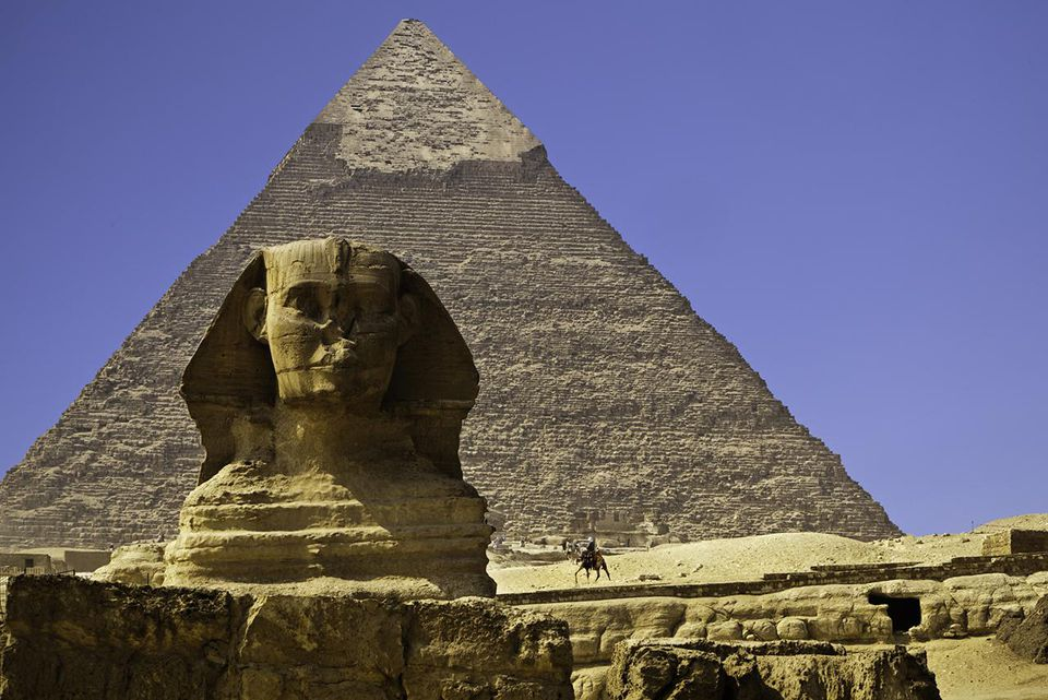 Sphinx and Pyramid of Chephren in Giza, Egypt