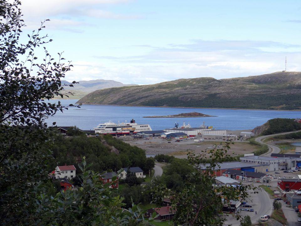 Hurtigruten costal liner at the dock in Kirkenes, Norway