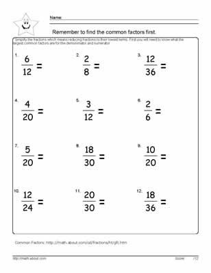 Reduce the Fraction Worksheets, 6th grade math