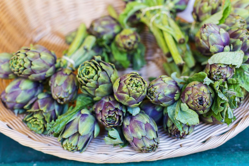 Artichokes in a basket