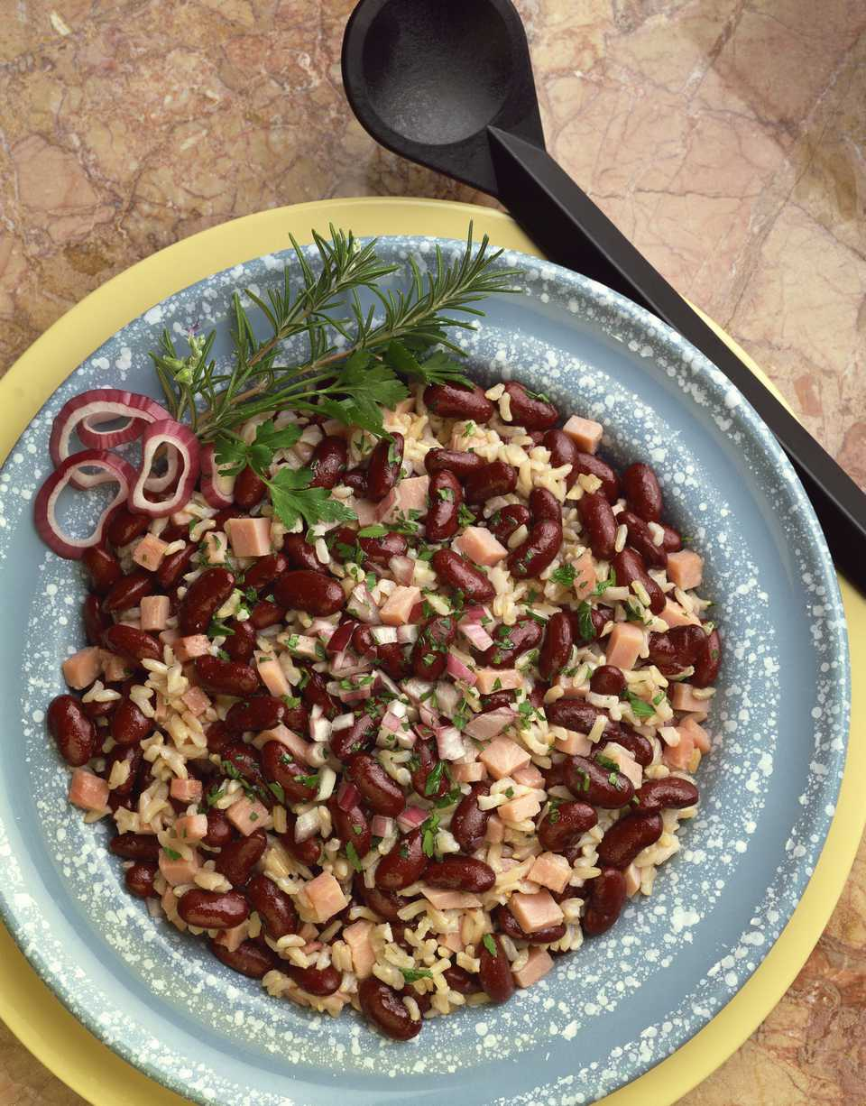 A bowl of red beans and rice.