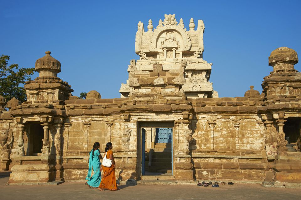 settings Kailasanatha temple dating from 8th century, Kanchipuram, Tamil Nadu