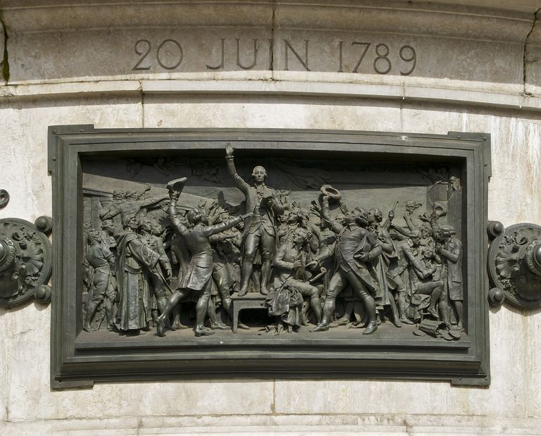 The Tennis Court Oath bronze relief