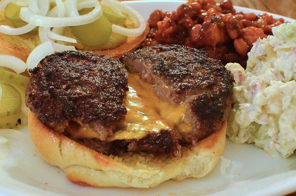 Bacon Double Cheese Stuffed Burgers