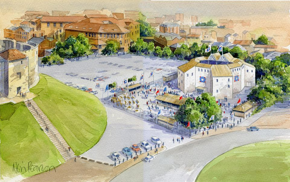 Color illustration of Shakespeare's Rose Theatre in York