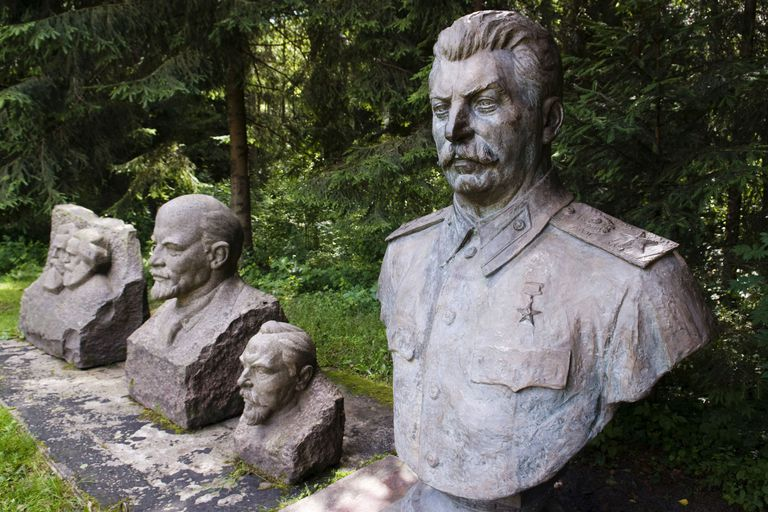 Statues of Stalin, Lenin, Dzerdginski, Marx and Engels displayed in Grutas Park in Lithuania.