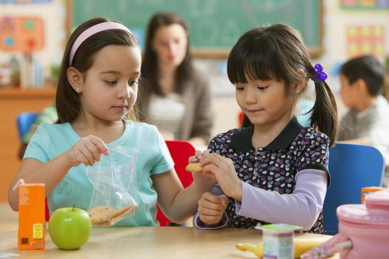 Girls eating lunch together in classroom