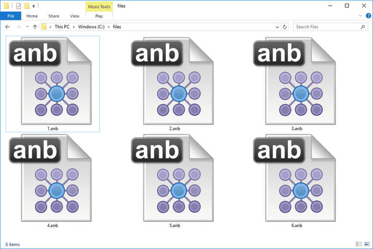 Screenshot of several ANB files in Windows 10 that open with IBM's i2 Chart Reader