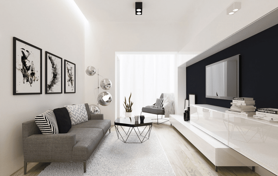 21 modern living room design ideas White and black modern living room