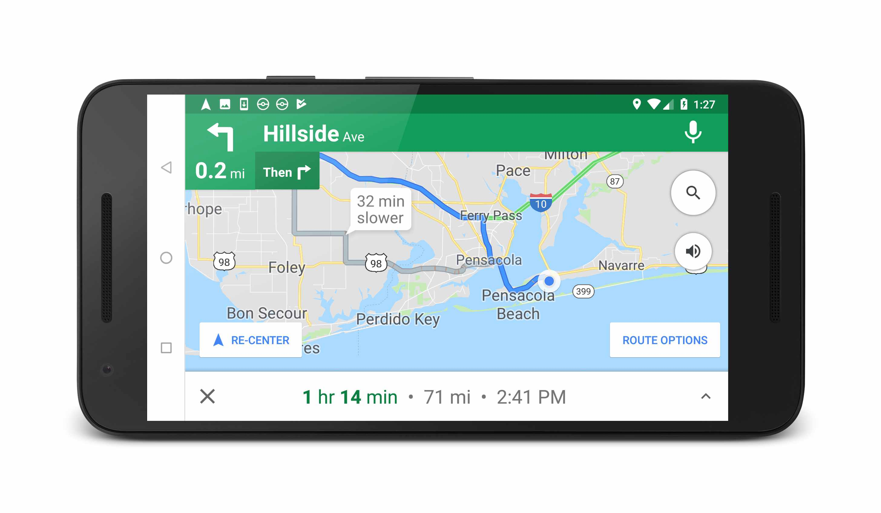 screenshot of google assistant showing alternate routes in google maps
