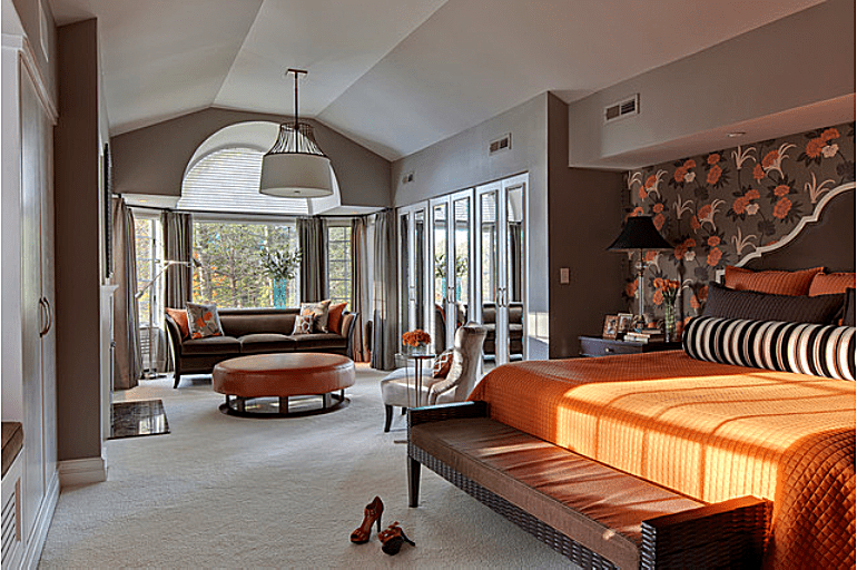 eclectic bedroom designed by b fein interior design photo by sgm photography - Orange And Brown Bedroom Ideas