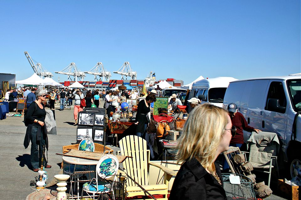 shoppers at the Alameda Flea Market