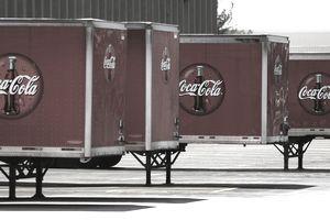 Coca-Cola trucks lined up