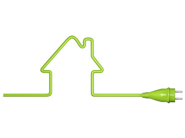 Green energy, house with cable and plug
