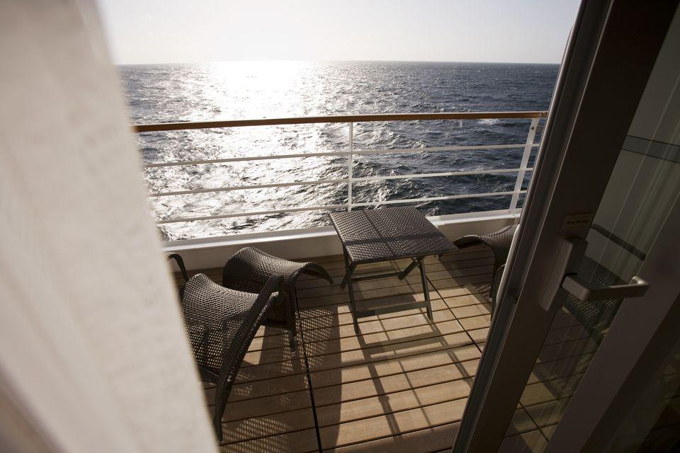 Balcony of guest cabin suite aboard cruiseship Silver Spirit (Silversea Cruises).