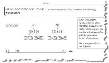 Prime Factor Tree Worksheet