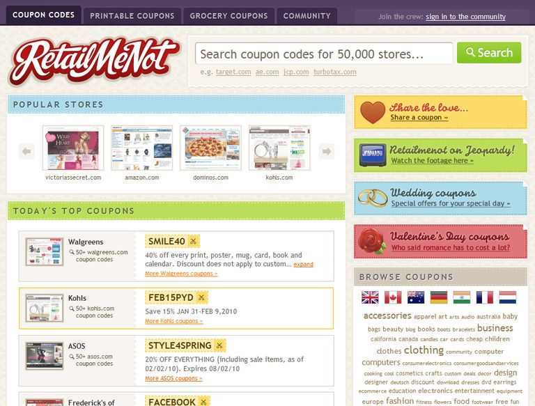 Screenshot of the RetailMeNot website