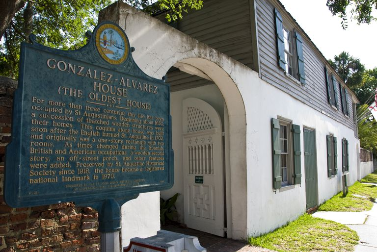 The Gonzalez-Alvarez House in St. Augustine, Florida, is promoted as the Oldest House in the US