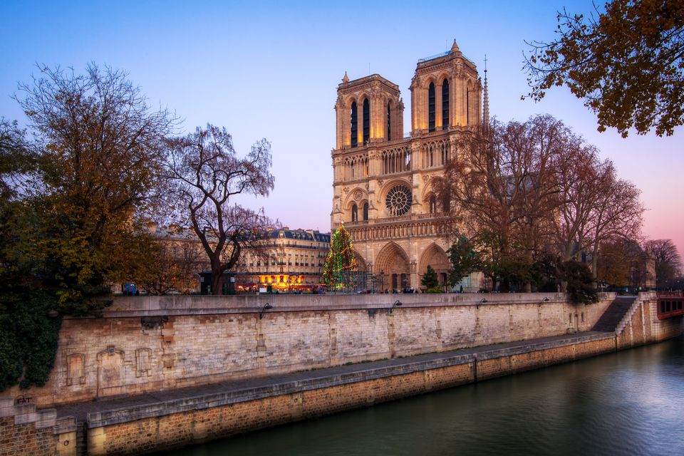 Notre Dame is beautiful at dusk.