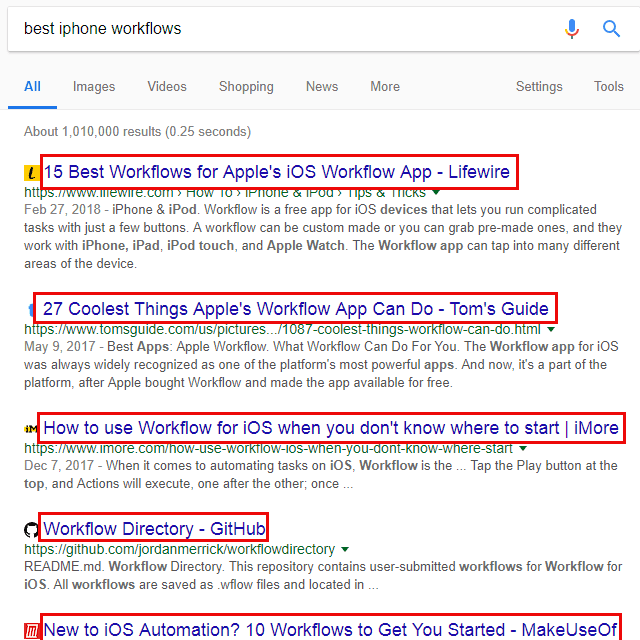 Screenshot of several meta title examples on Google