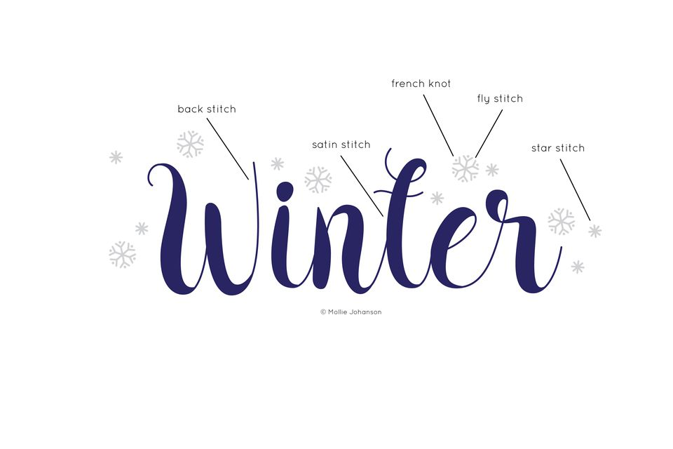 Winter Word Art Free Embroidery Pattern