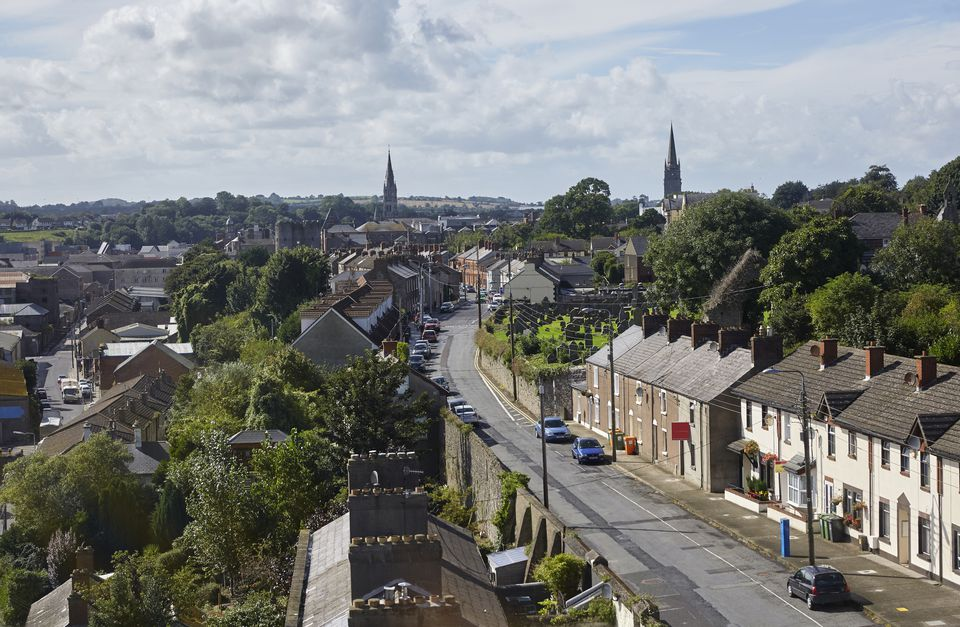 Elevated cityscape of the Irish Town of Drogheda, one of the oldest towns in Ireland