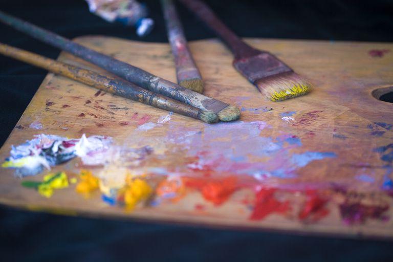 Artist palette with oil paints.