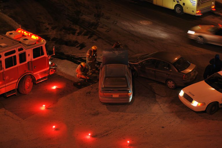 Car accident scene at night
