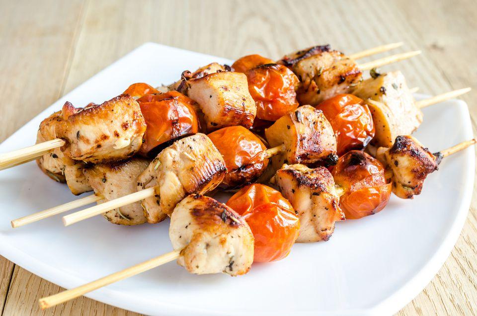Basic Turkish chicken kebabs are marinated in seasoned yogurt or milk before grilling