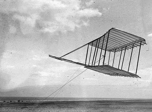 1900 Wright Brothers' glider flying as a kite.