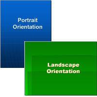 Portrait or landscape slide orientation in PowerPoint