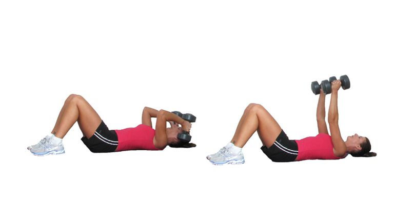Lying triceps extensions