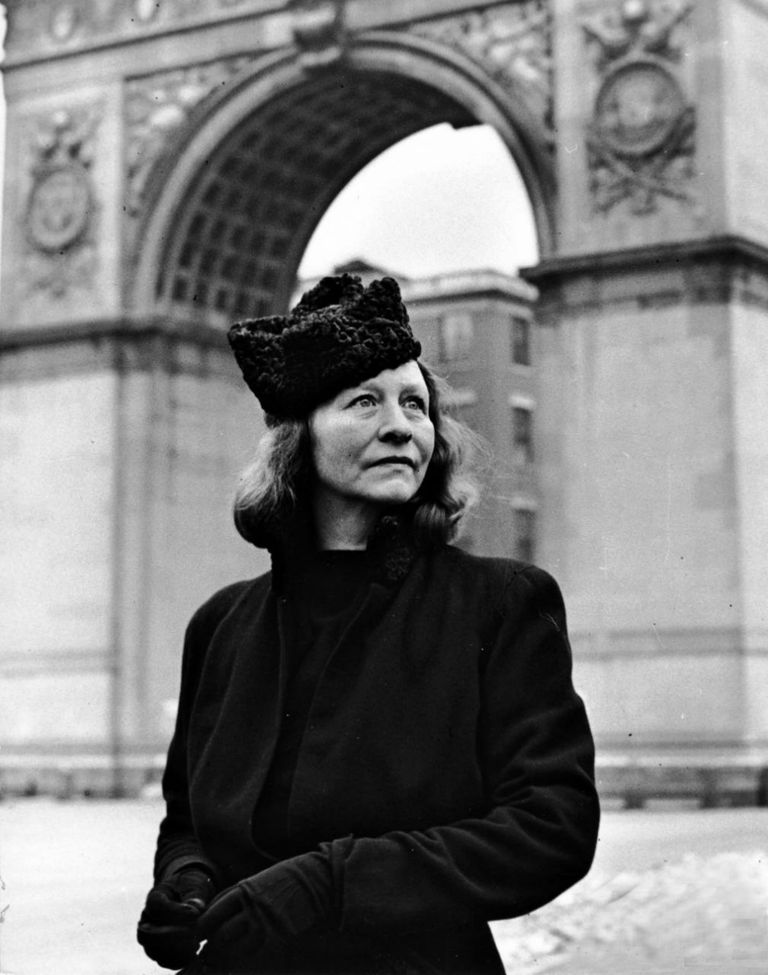 Edna St. Vincent Millay by Washington Square Arch in Greenwich Village