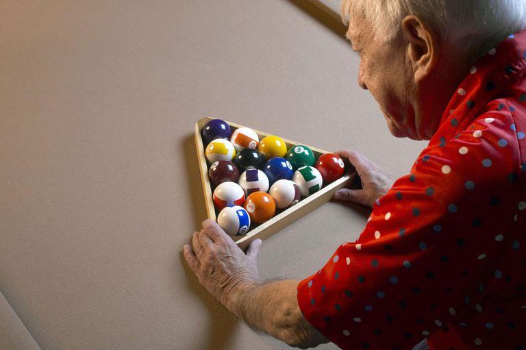 Man racking pool balls