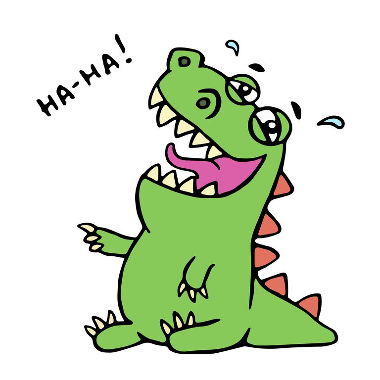 Dinosaur laughs. Unbridled joy.