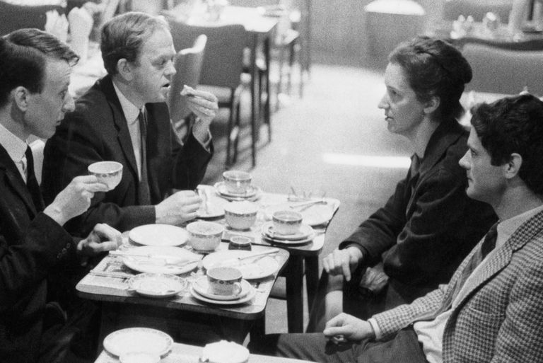 Richard Rodney Bennett, Malcolm Williamson, Thea Musgrave and Peter Maxwell Davies at the Cafe Boulevard in London, 9th April 1965