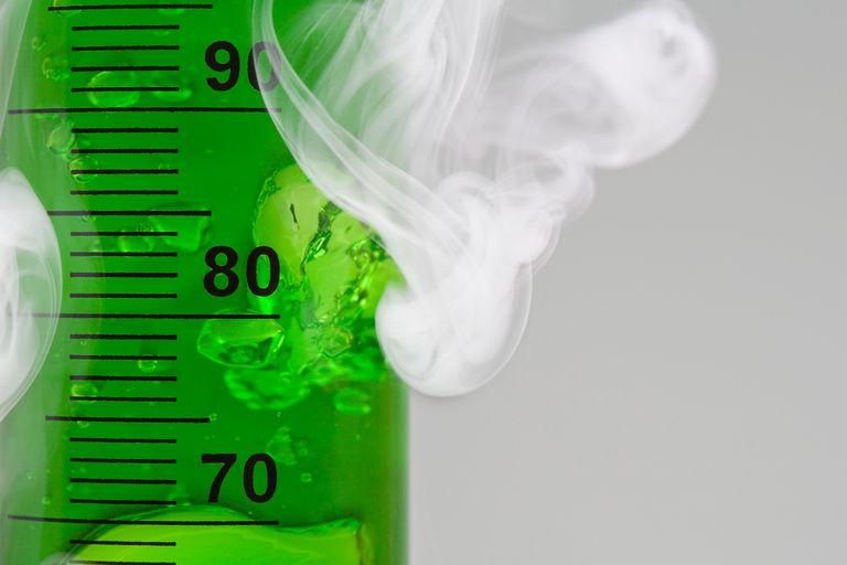 Smoke next to a tube full of green gel.