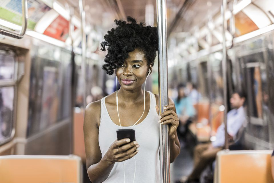 Woman staring on subway