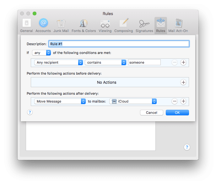 How to Filter Outgoing Mail in Mac OS X Mail (with Mail Act-On)