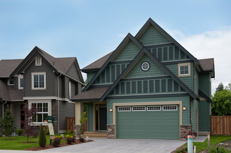gables dominate fronts of new construction