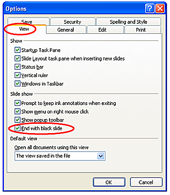 PowerPoint Options dialog box - End with black slide