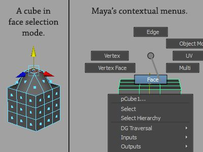 Maya's Contextual Menus and Selection Modes