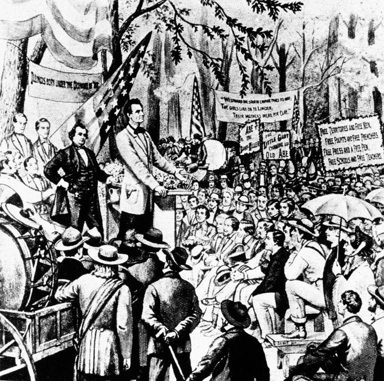 Depiction of a Lincoln-Douglas Debate