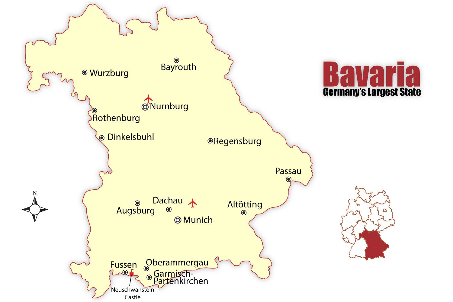Bavaria Map And Travel Guide - Germany map romantic road