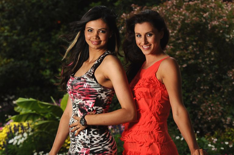 Sharmila Nicollet of India and Maria Verchenova of Russia for a picture at the gala dinner after the third round of the Evian Masters at the Evian Masters golf club on July 23, 2011
